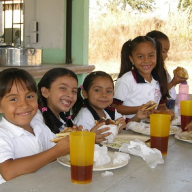 Children enjoy lunch in the new lunchroom at Vista Mar.