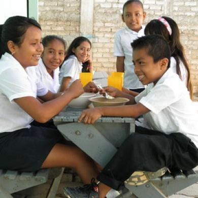 Students at Vista Mar school enjoying their lunch.