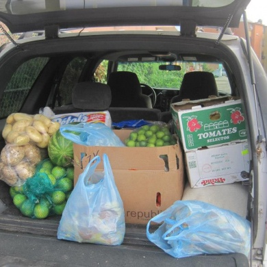 Van loaded up with food supplies for the nutrition program at Pacifica school.
